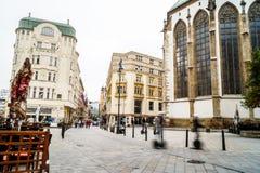 Улица Брна в реальном маштабе времени стоковые фотографии rf