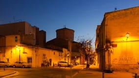 Улица вечера Sant Adria de Besos Стоковое фото RF