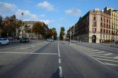 Улица в городе Барселоны, Испании Стоковое фото RF