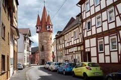 Улица в городе Eschwege, Германия Стоковая Фотография RF