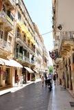 Улица в городке Корфу, Греции, Европы Стоковое Изображение RF