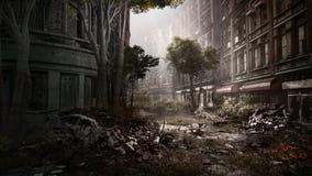 Улица в дезертированном городке бесплатная иллюстрация