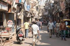 Улица в старом Дели, Индии Стоковое Фото