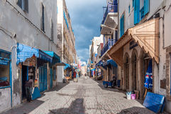 Улица в medina Essaouira Стоковое Изображение RF