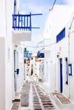 Улица в Mykonos, Греции Стоковые Изображения RF
