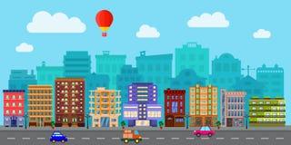 Улица города в плоском дизайне иллюстрация штока