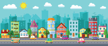 Улица города в плоском дизайне иллюстрация вектора
