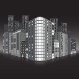 Улица города с офисными зданиями и refle иллюстрация штока