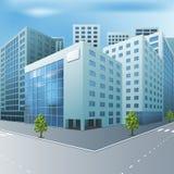 Улица города с офисными зданиями иллюстрация вектора