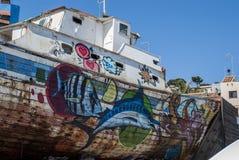 Улица граффити шлюпки стоковое изображение rf