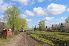 Улица деревни в русском захолустье Стоковая Фотография