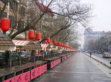 Улица еды Пекина в утре Стоковое Изображение