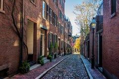 Улица жолудя - Бостон, Массачусетс, США стоковые изображения rf