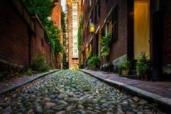 Улица жолудя, в холме маяка, Бостон, Массачусетс Стоковое фото RF