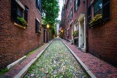 Улица жолудя, в холме маяка, Бостон, Массачусетс Стоковая Фотография