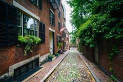 Улица жолудя, в холме маяка, Бостон, Массачусетс Стоковое Изображение RF