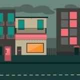 улица звезд моря уютной ночи домов романтичная вниз Стоковое фото RF