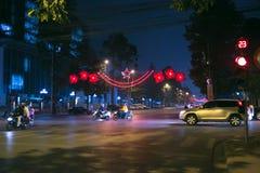улица звезд моря уютной ночи домов романтичная вниз Стоковое Изображение