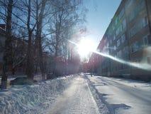 Улица зимы Стоковая Фотография RF