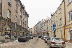 Улица зимы Jagiellonska в Rzeszow, Польше Стоковое фото RF