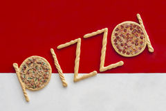улица знака ресторана пиццы рекламы takeway Стоковые Фото