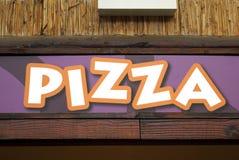 улица знака ресторана пиццы рекламы takeway Стоковое Изображение RF