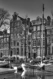 Улица канала в Амстердаме Нидерландах HDR Стоковое Изображение