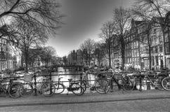 Улица канала в Амстердаме Нидерландах HDR Стоковое Фото