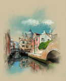 Улица канала в Венеции, Италии Эскиз акварели
