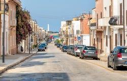 Улица каподастра San Vito Lo, большинств известные touristic назначения Cavour Сицилии стоковые изображения