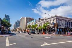 Улица квартала Gaslamp в Сан-Диего Стоковая Фотография RF