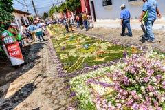 Улица ковров Lent, Антигуа, Гватемала Стоковые Изображения