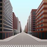 Улица, к центру города с офисными зданиями и магазинами иллюстрация штока
