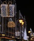 Улица моды с украшением рождества Стоковые Изображения
