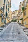 Улица на Корфу, Греции Стоковая Фотография