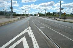 Улица на мосте Rocha в Poznan Стоковые Фотографии RF
