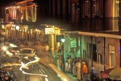Улица на ноче, Новый Орлеан Бурбона, Луизиана Стоковое Изображение