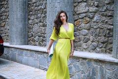Улица партии платья красивой сексуальной прогулки женщины брюнет silk Стоковое Изображение