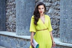 Улица партии платья красивой сексуальной прогулки женщины брюнет silk Стоковое фото RF