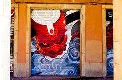 Улица Португалии, Лиссабона, изумительное граффити, искусство улицы Стоковые Изображения RF