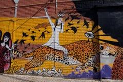 Улица Португалии, Лиссабона, изумительное граффити, искусство улицы Стоковое Изображение RF