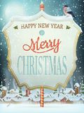 Улица рождества винтажная с шильдиком 10 eps Стоковые Фото