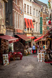 Улица рынка в Брюсселе Бельгии Стоковые Фото
