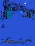 Улица старого городка на ноче Стоковые Фото
