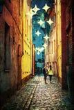 Улица старой Риги на ноче Стоковая Фотография RF