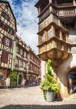 Улица старой части Кольмара, Франции Эльзас, Стоковая Фотография RF
