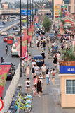 Улица с знаменами рекламы, Пекин, Китай Стоковые Фото