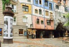 Улица с странной структурой в концепции австрийского художника Hundertwasser Стоковые Изображения