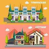 Улица с таунхаусами и загородными домами Комплект  Стоковая Фотография RF