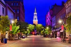 Улица церков в Burlington, Вермонте Стоковые Изображения RF